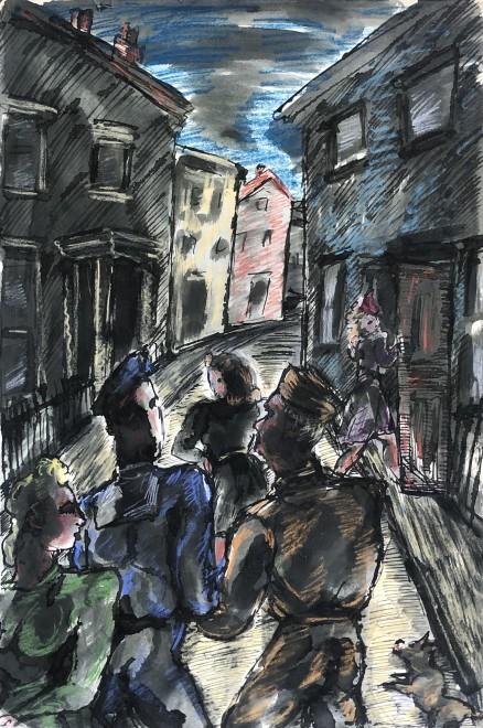 Vera Cuningham, London Street in Wartime, c. 1945