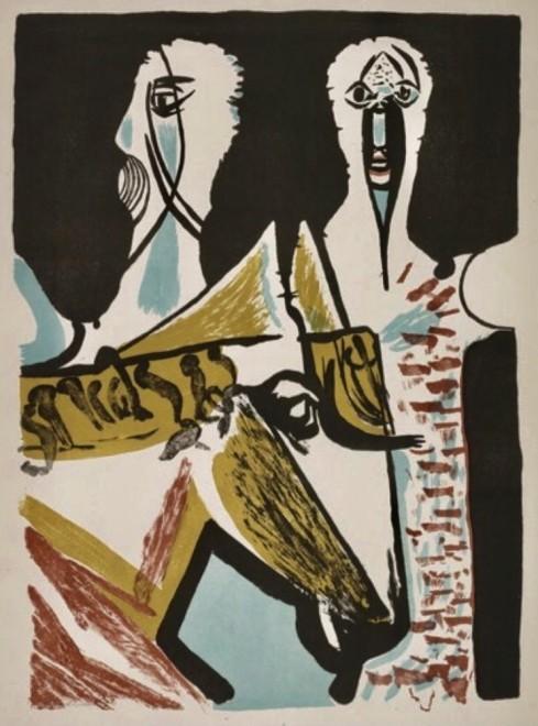 Robert Colquhoun, Masked Figures and Horse, 1953