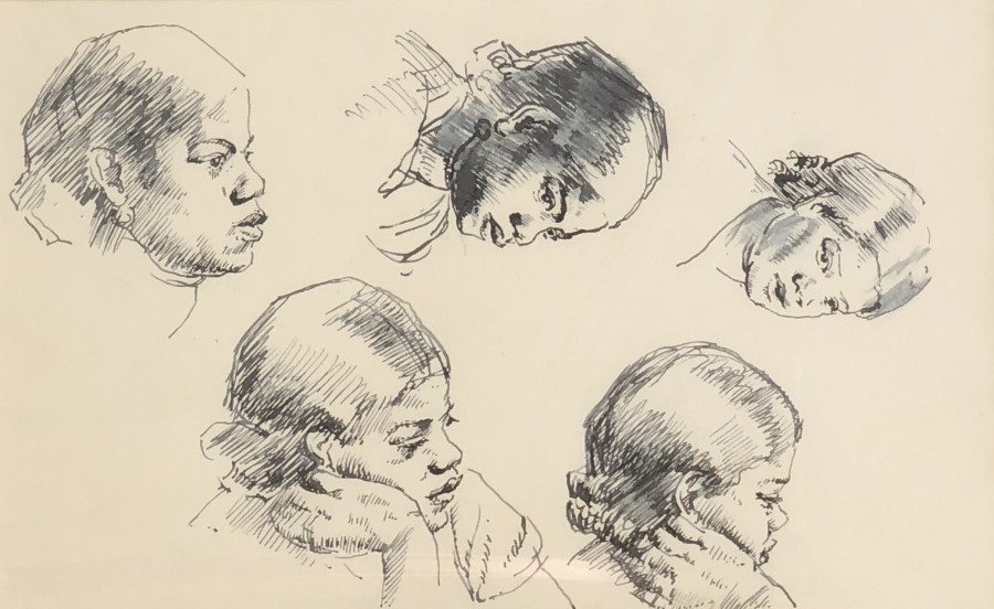 Dorothea Maclagan, Portrait Studies, c. 1950s  5 x 8.25 inches