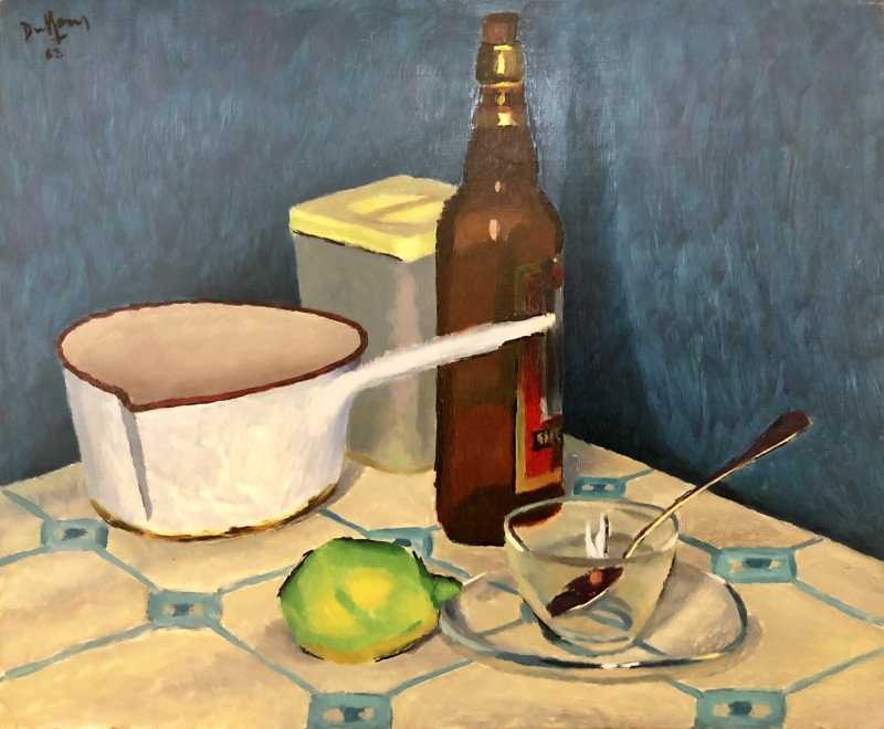 Jacques André Duffour, STILL LIFE WITH BEER BOTTLE AND SAUCEPAN, 1963
