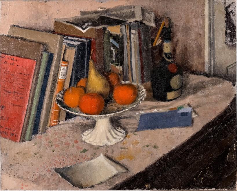 Gordon Scott, Still Life with Fruit, Books and Wine Bottle, c. 1946
