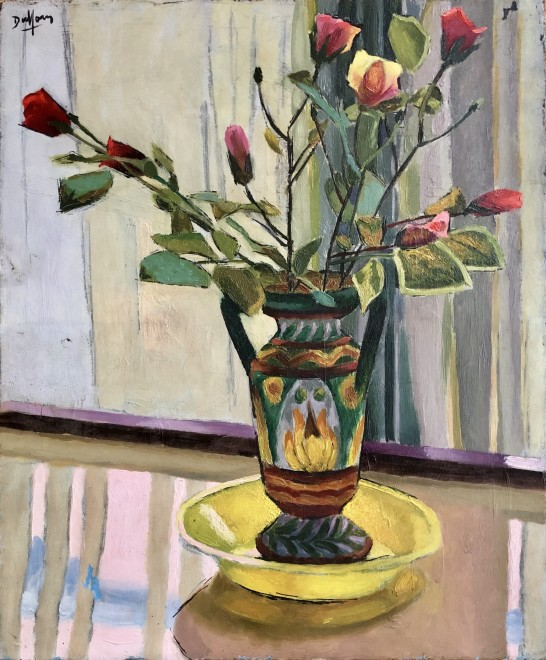 Jacques André Duffour, Still Life with Roses and Decorated Vase, c. 1955