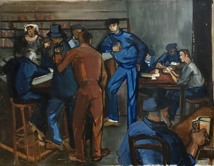 Henry Malançon, French Sailors in a Bar, c. 1950