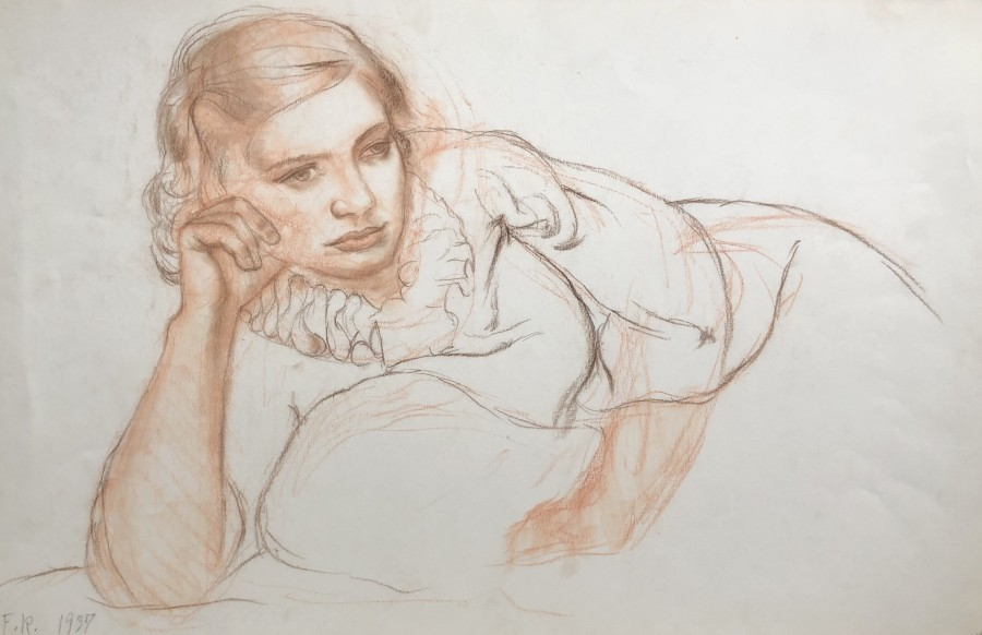 Fermin Rocker, Study of a Girl, 1937  14 x 22 inches