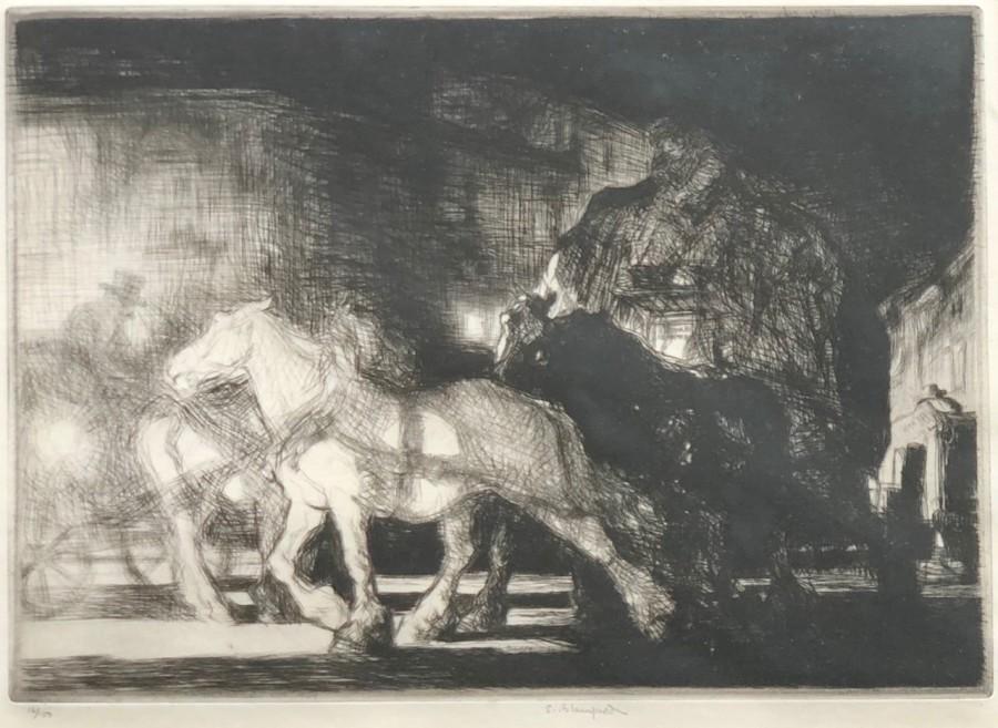 Edmund Blampied, A Street by Night, 1926