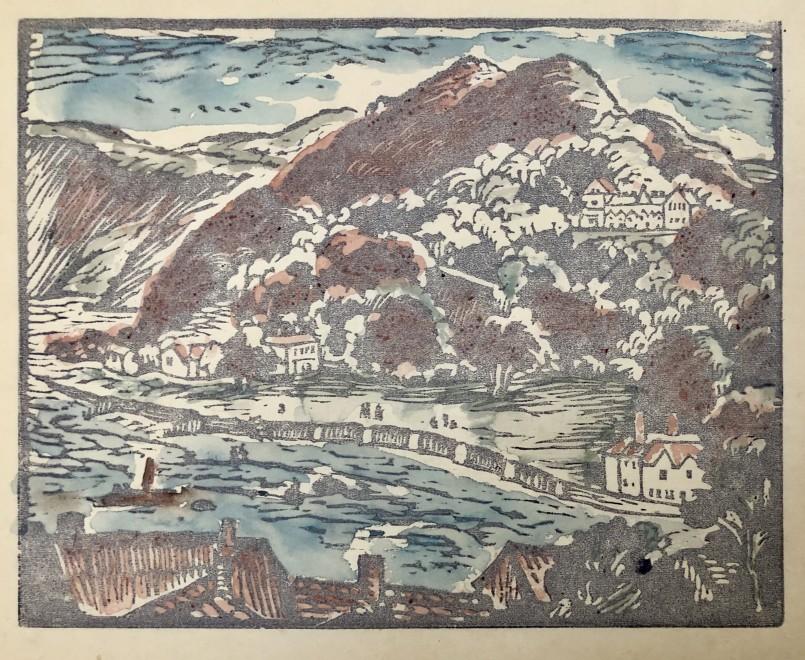 Ethelbert White, The Tors, Lynton (hand coloured), 1956