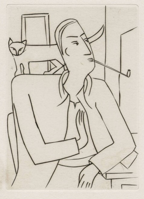André Derain, Self Portrait with Pipe and Cat, c. 1930