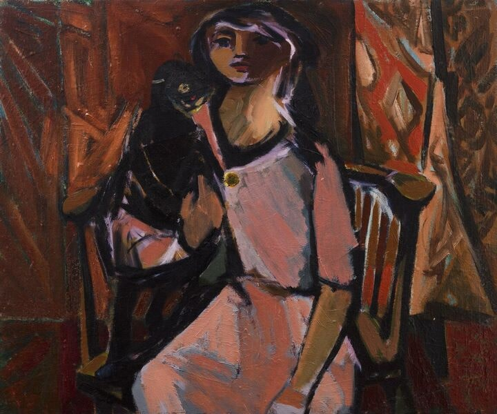 KENNETH LAUDER (1916-2004)  Girl in a pink dress, 1954