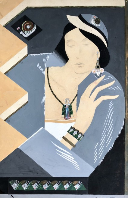 Norman Thompson, Art Deco Portrait (Design for Jewellery), 1934
