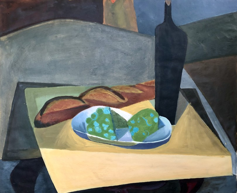 STILL LIFE WITH BOTTLE AND BAGUETTE