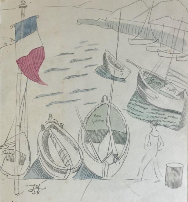 Doris Hatt, Boats and Tricolore, St. Tropez, 1950