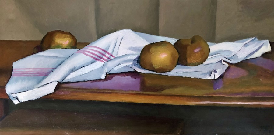 Still Life with Apples and Napkin