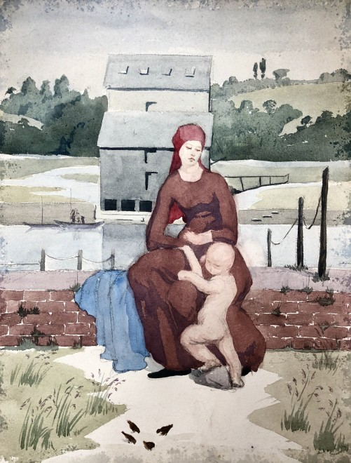 Dorothea Maclagan, Mother and Child in a Landscape, c. 1920