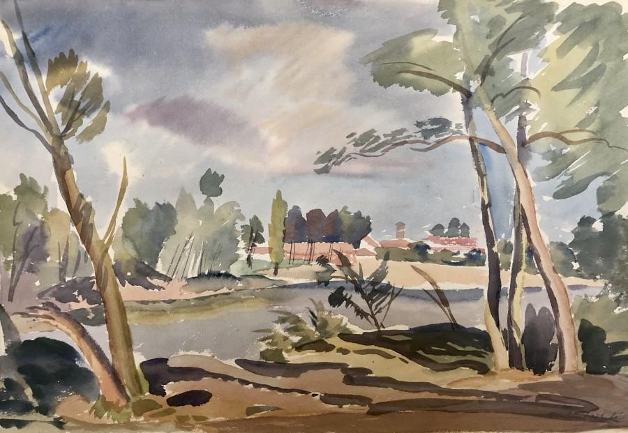 Ethelbert White, River Landscape, c. 1940s