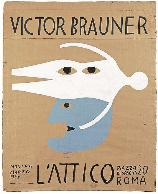 Victor Brauner, Projet D'Affiche pour une Exposition a La Galerie L'Attico A Rome, 1964