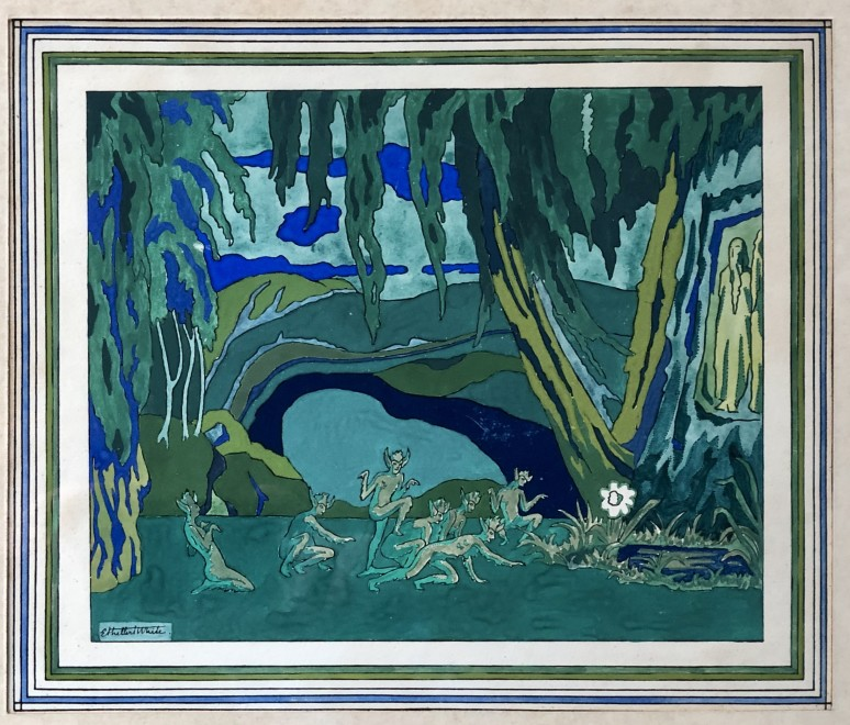Ethelbert White, A Scene from Fokine's Narcisse (Ballets Russes), c. 1919