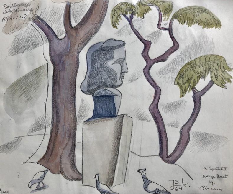 Doris Hatt, Picasso's Bust of Apollinaire, Paris, 1964