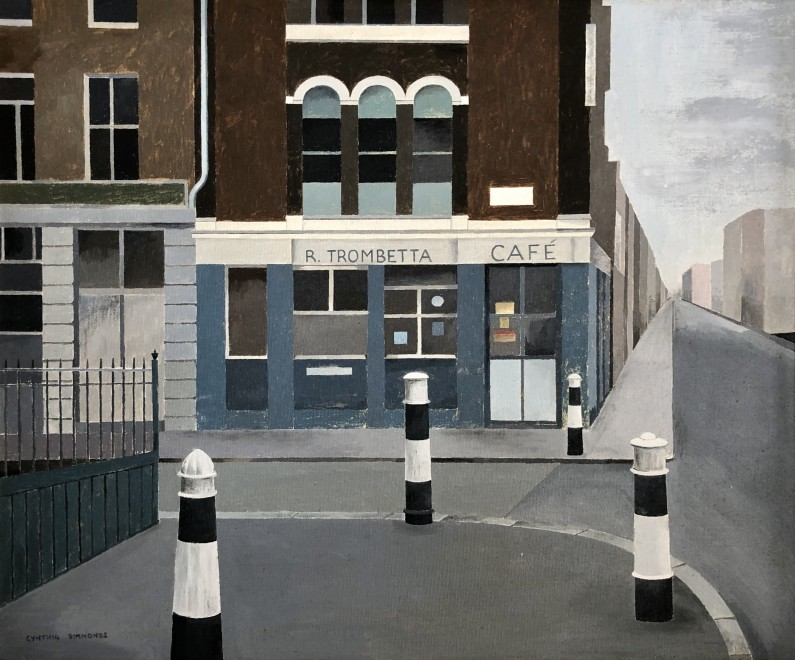Cynthia Simmonds (1921-2011), Trombetta's Café, Queenhythe, Upper Thames Street, London, c. 1960  20 x 24 inches
