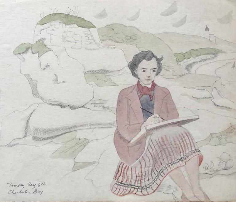 Doris Hatt, Sketching at Charlestown Bay, Cornwall, 1932