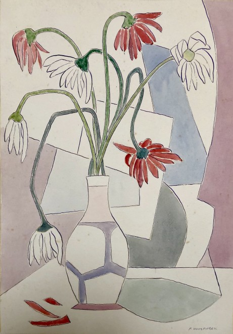 Peter Humphrey, Cubist Still Life with Flowers in a Vase, 1938