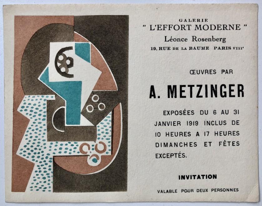 Jean Metzinger, Private View Card, 1919