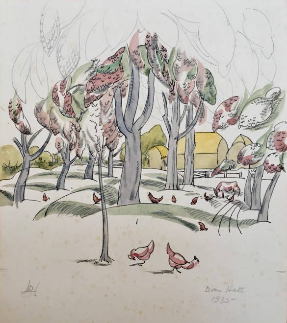 Doris Hatt, Trees and Chickens, 9135
