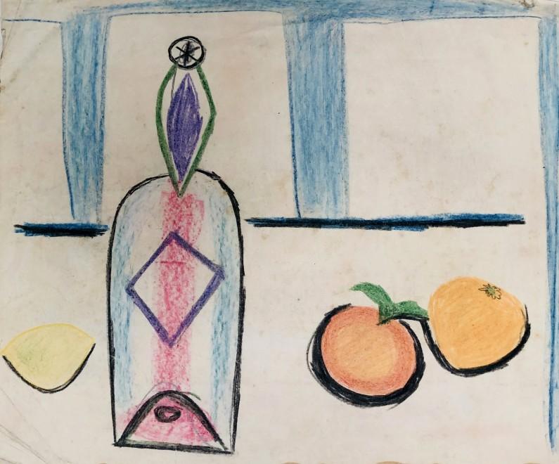 Carlos Carnero, Nature morte avec bouteille et oranges, c. 1950