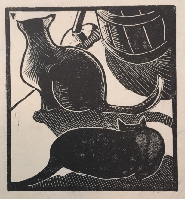 Rupert Lee, Two Cats, 1921  3.25 x 2.75 inches
