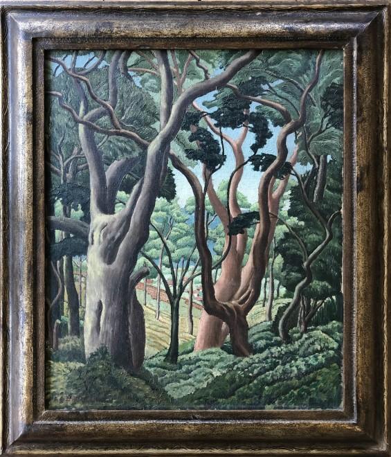 Alexander C. Dalzell, Yew Trees at Stoke Gabriel, Devon, 1936