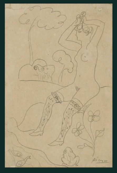 Pablo Picasso  Baigneuse au bord d'un ruisseau et un vieillard