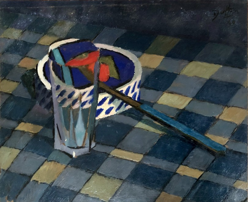 STILL LIFE WITH CHECKERED TABLE CLOTH WITH GLASS