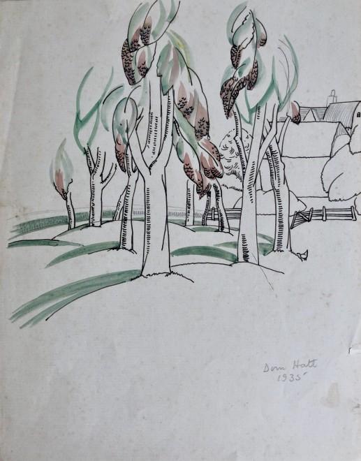 Doris Hatt, Trees and Farm, 1935