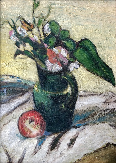 Alfred Wolmark, Still Life with Vase of Flowers and an Apple, c. 1920