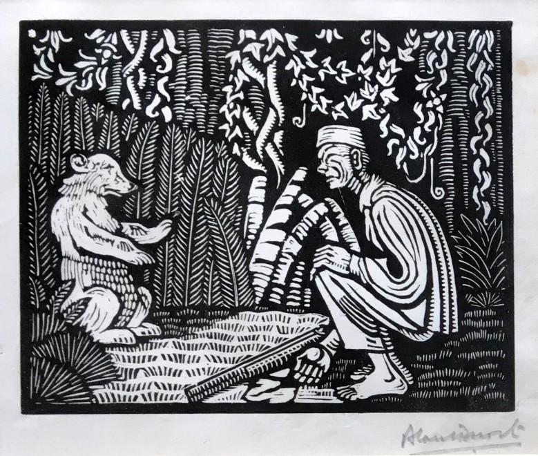 Alan Durst, Man and Bear, c. 1925