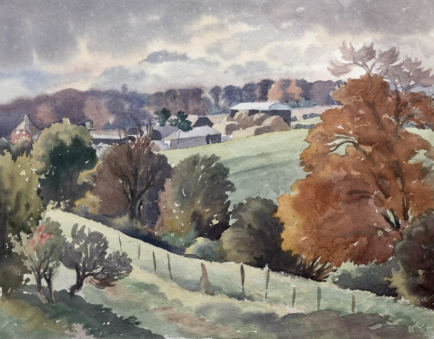 Ethelbert White, Autumn Landscape with Farm, c. 1935