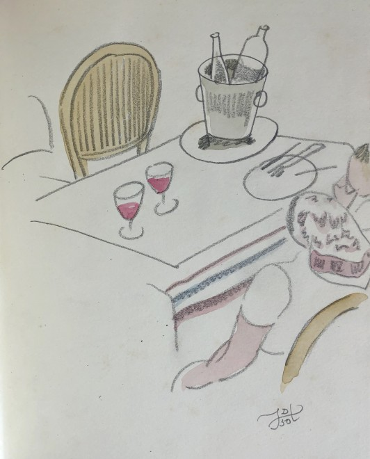 Doris Hatt, Café Table with Wine Glasses, St. Tropez, 1950