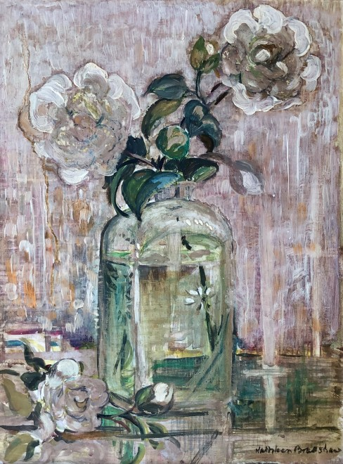 Kathleen Bradshaw, Still Life with Glass Vase and Flowers, c. 1950