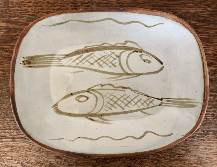 Michael Cardew, A Press Moulded Dish decorated with Fish, 1970s