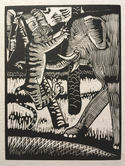 Rupert Lee, Tiger and Elephant, 1919