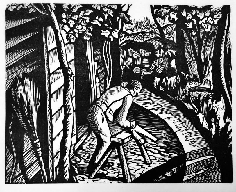 Ethelbert White, Sawing Logs, 1926