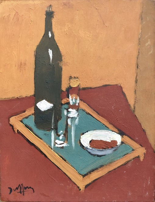 Jacques André Duffour, STILL LIFE WITH TRAY, WINE BOTTLE AND GLASS, c. 1956