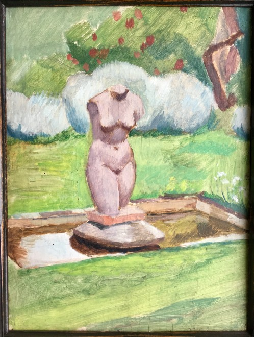 Vanessa Bell, The Garden at Charleston; Small pond with classical torso, c. 1940