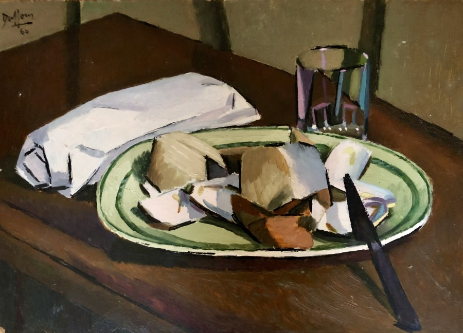 Jacques André Duffour, Still Life with Plate and Glass, 1960