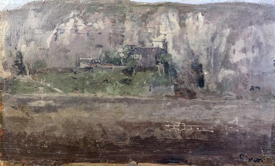 Walter Sickert, Les Falaises du Pollet et l'Atelier du Pientre Haquette (Esquisse), Dieppe, 1885
