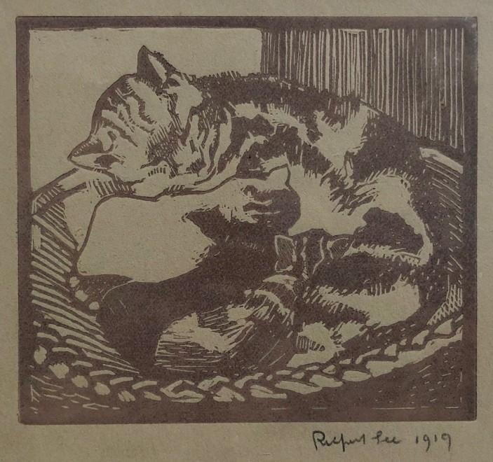 Rupert Lee, Cat and Kittens, 1919