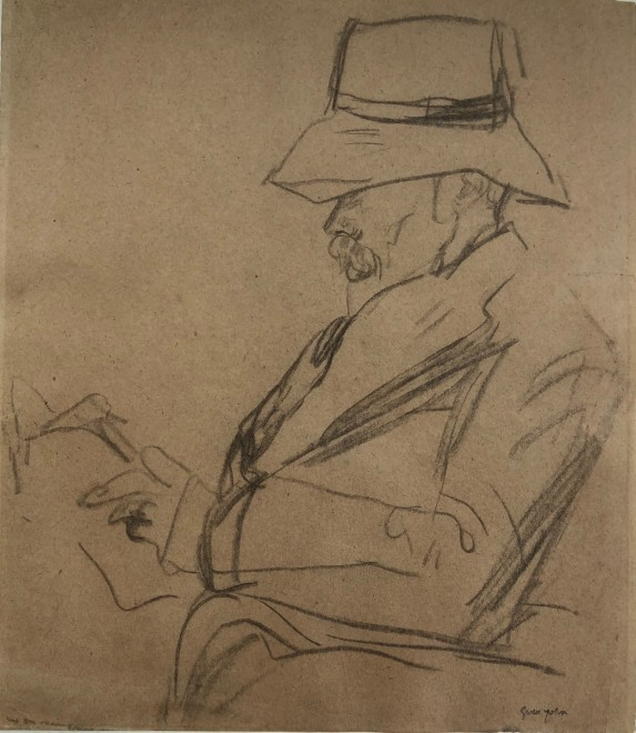 Gwen John, Portrait of Arthur Symons in a hat, reading, c. 1920