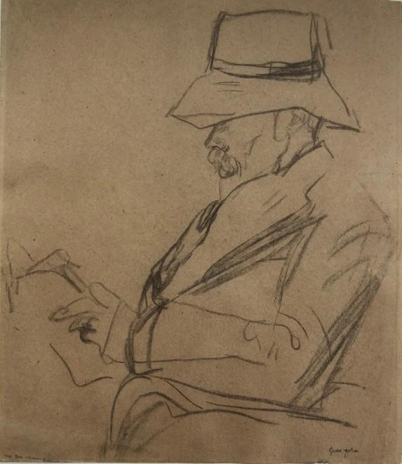 Portrait of the Poet Arthur Symons in a hat, reading
