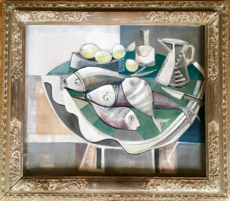 Klara Koitler, Still Life with Fish and Striped Jug