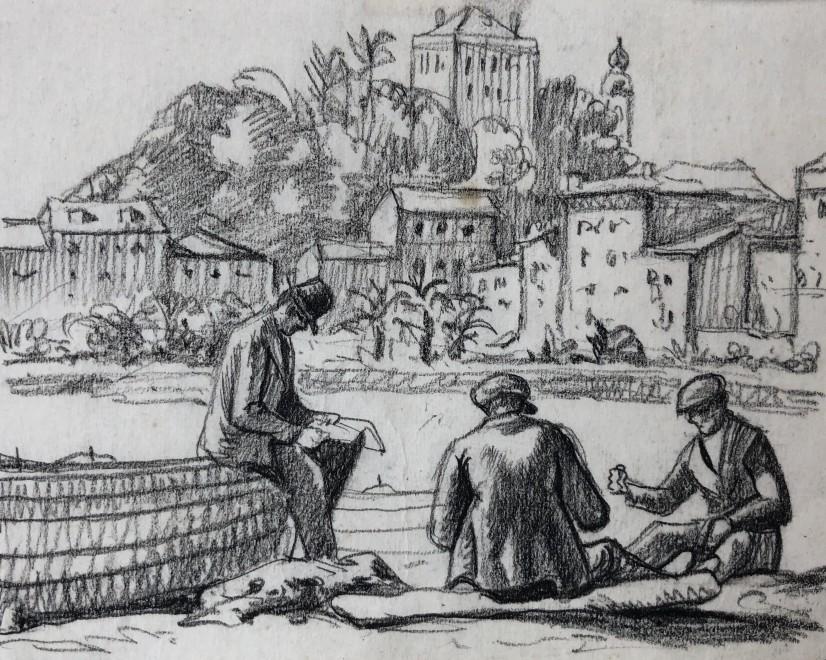 Ethelbert White, Mending Nets, Rapallo, c. 1924