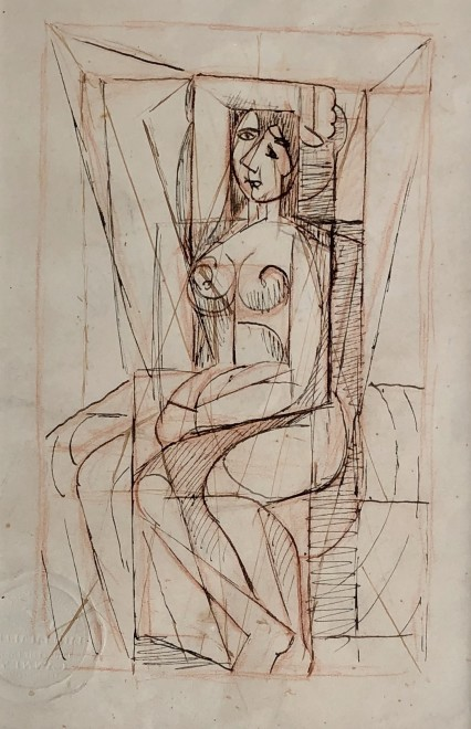 Marie Marevna, Cubist Nude with Arm Raised (Study after Picasso), c. 1939